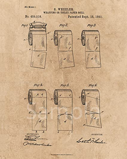 Amazon.com: OUTWEST TRADING Toilet Paper Roll Unframed Patent Print ...