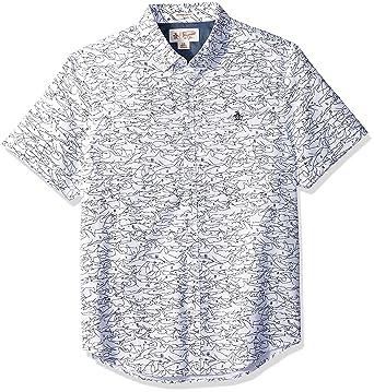 aad27873 Amazon.com: Original Penguin Men's Short Sleeve Shark Print Oxford Shirt:  Clothing