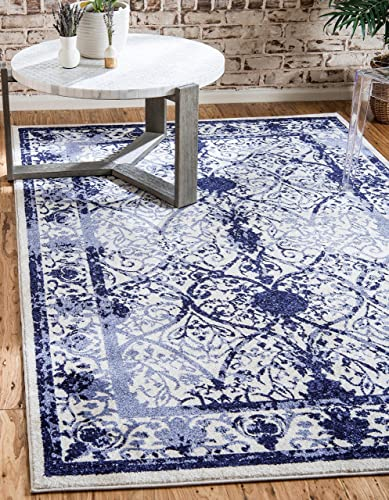 Unique Loom La Jolla Collection Tone-on-Tone Traditional Ivory Blue Area Rug 11 9 x 16 0