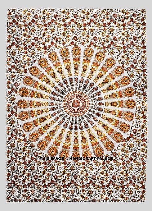 Amazon.com: Indio hecho a mano tapiz mandala hippie algodón ...