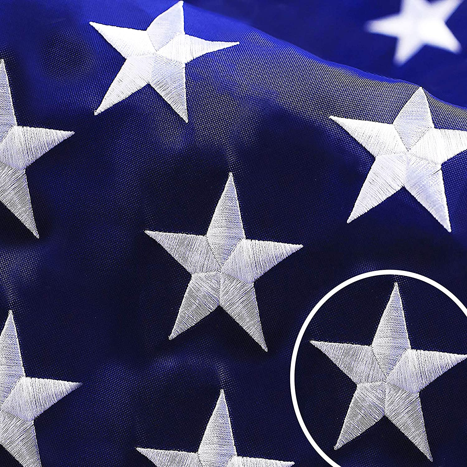 G128 - American USA US Flag 10x15 ft Deluxe Embroidered Stars Sewn Stripes Brass Grommets Durable Indoor Outdoor Use