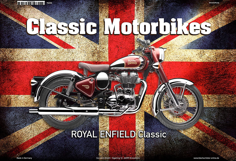 ComCard Royal Enfield UK Classic Motorrad Schild aus Blech, Metal Sign, tin
