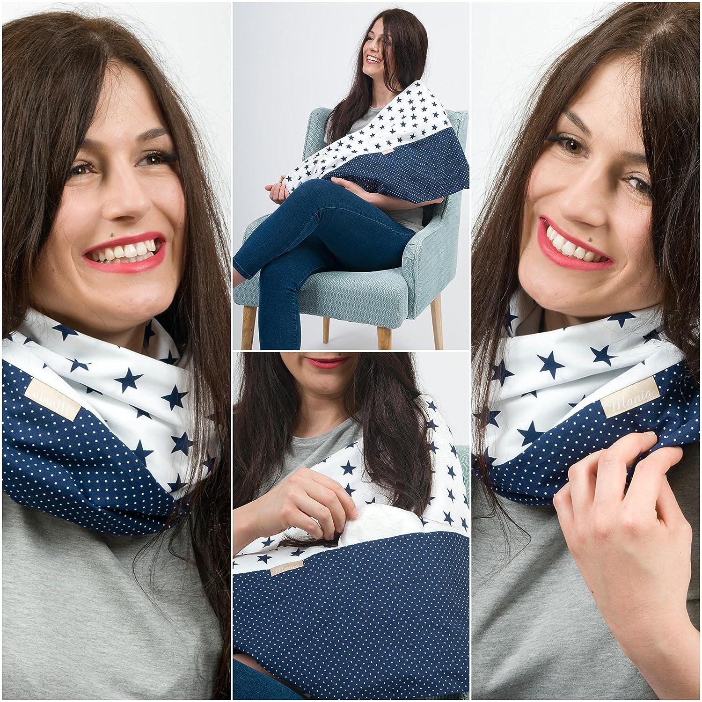 MANIA Stillschal StilltuchSterntaler blau mit Einschub für Stilleinlage in Größe L-XL, Handarbeit!