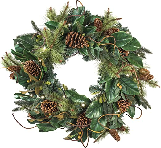 Amazon Com 30 Inch Artificial Christmas Wreath Magnolia Leaf Collection Natural Decoration Pre Lit With 50 Warm Clear Colored Led Mini Lights Includes Remote Controlled Battery Pack With Timer Home Kitchen