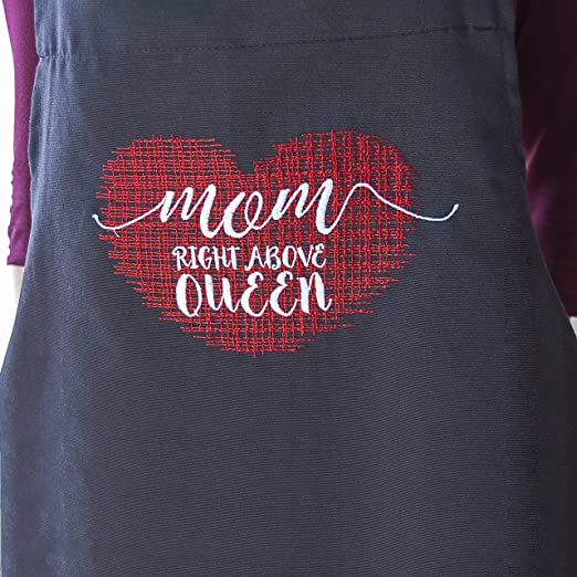 Amazon.com: BgEurope Mothers Day Birthday Gift - Embroidered Black Apron and White Bath Towels Set - REF. Right Above Queen: Home & Kitchen