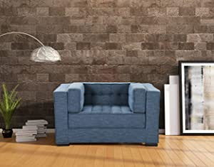 Iconic Home Lorenzo Accent Club Chair Linen-Textured Upholstered Tufted Shelter Arm Design Espresso Finished Wood Legs Modern Transitional, Indigo
