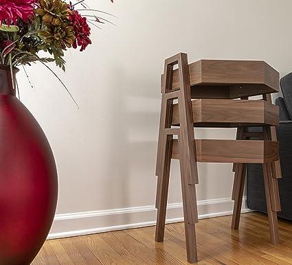 Nesting End Tables By Ella, Corner Stacking Hexagen Tea Table, Modern  Furniture Decor Side