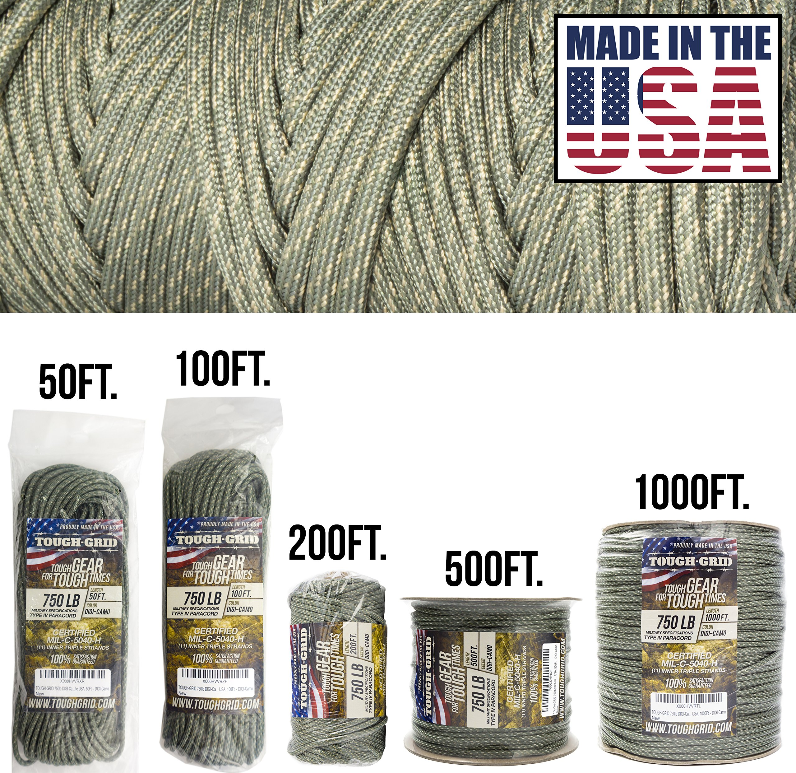 TOUGH-GRID 750lb DIGI-Camo Paracord/Parachute Cord - Genuine Mil Spec Type IV 750lb Paracord Used by The US Military (MIl-C-5040-H) - 100% Nylon - Made in The USA. 100Ft. - DIGI-Camo