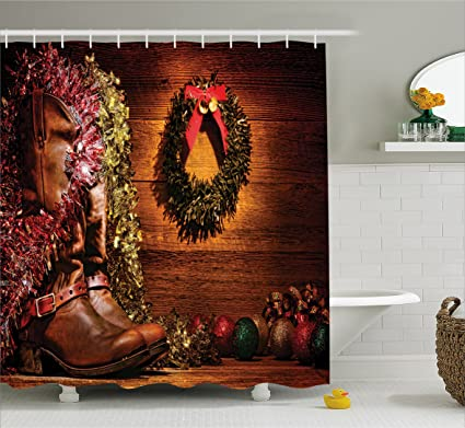 ambesonne western decor shower curtain by country design with cowboy boots and christmas decorations in
