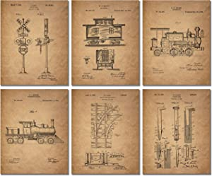 Railroad Train Patent Prints - Set of 6 (8 inches x 10 inches) Photos Locomotive Railway