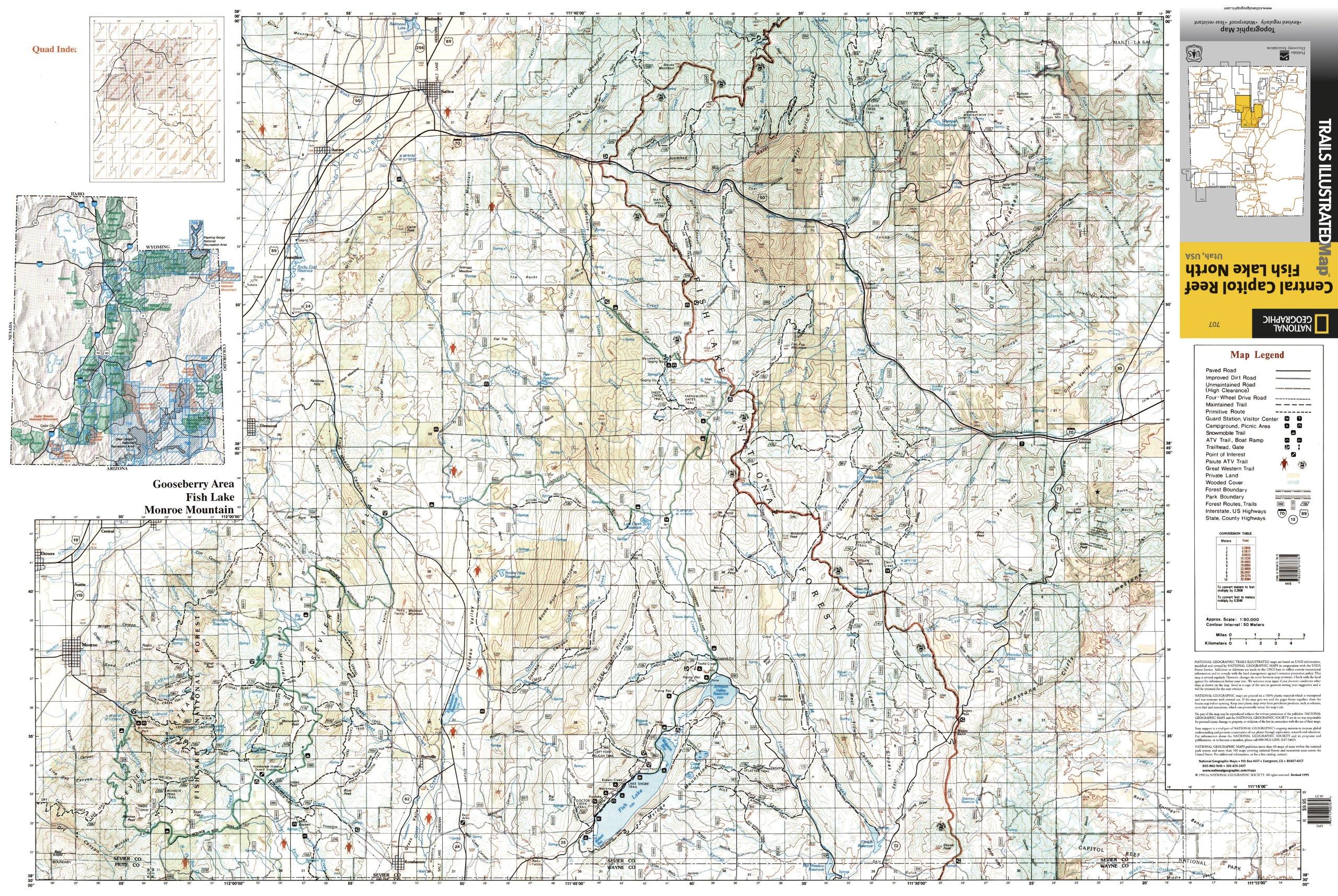 Central Capitol Reef & Fish Lake North Utah Trail Map National