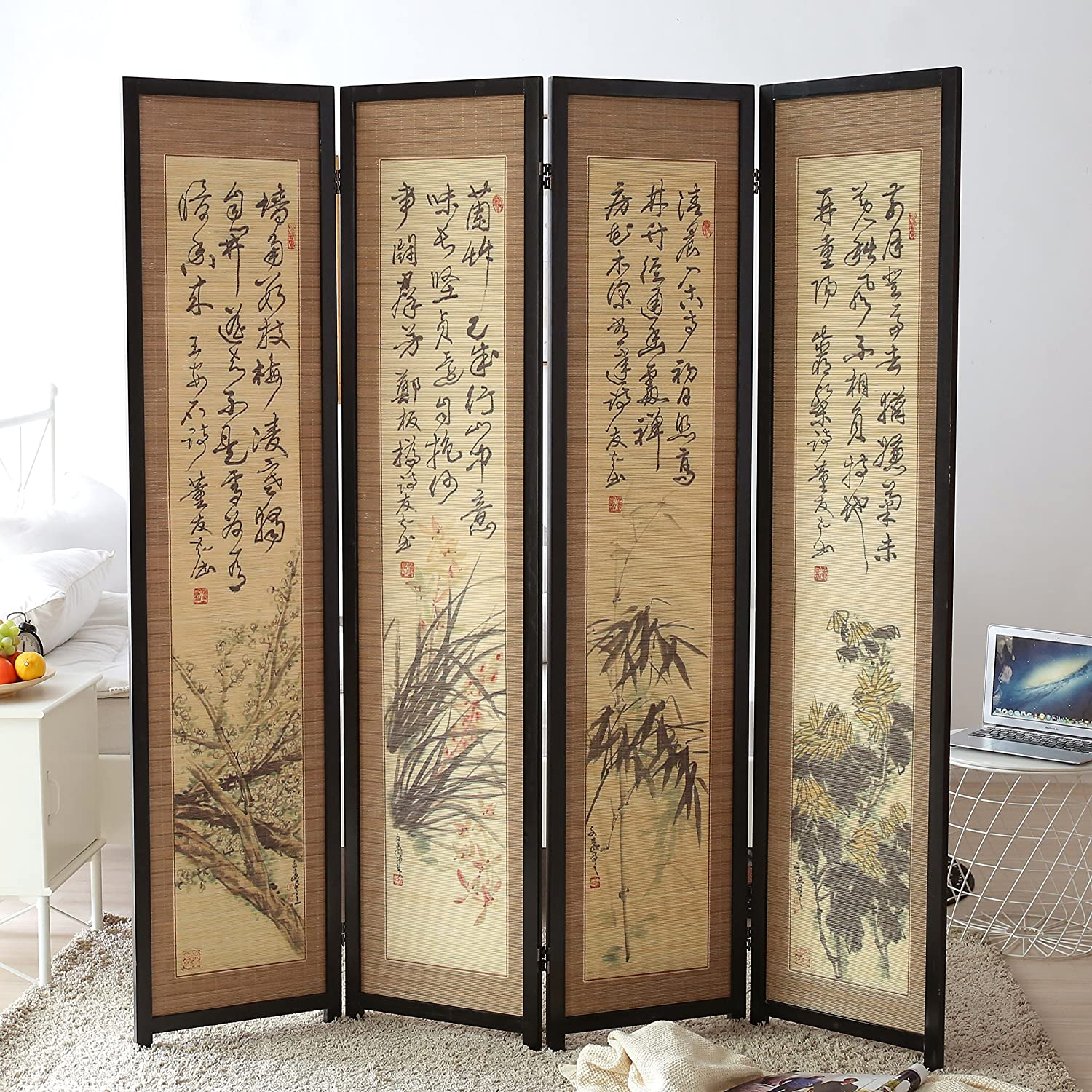 MyGift 4 Panel Japanese-Inspired Artwork Room Divider Folding Wood Privacy Partition with Dual Hinges