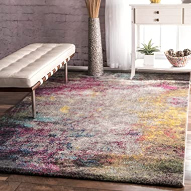 Contemporary Smoke Clouds Abstract Multi Area Rugs, 9 Feet by 12 Feet (9' x 12')