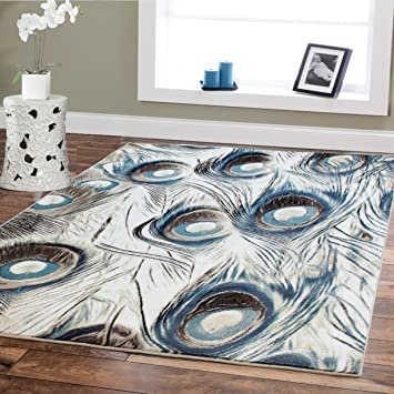 Large 8x11 Premium Luxury Peafowl Style Rug For Room 8 By 11 Blue Beige  Brown Black