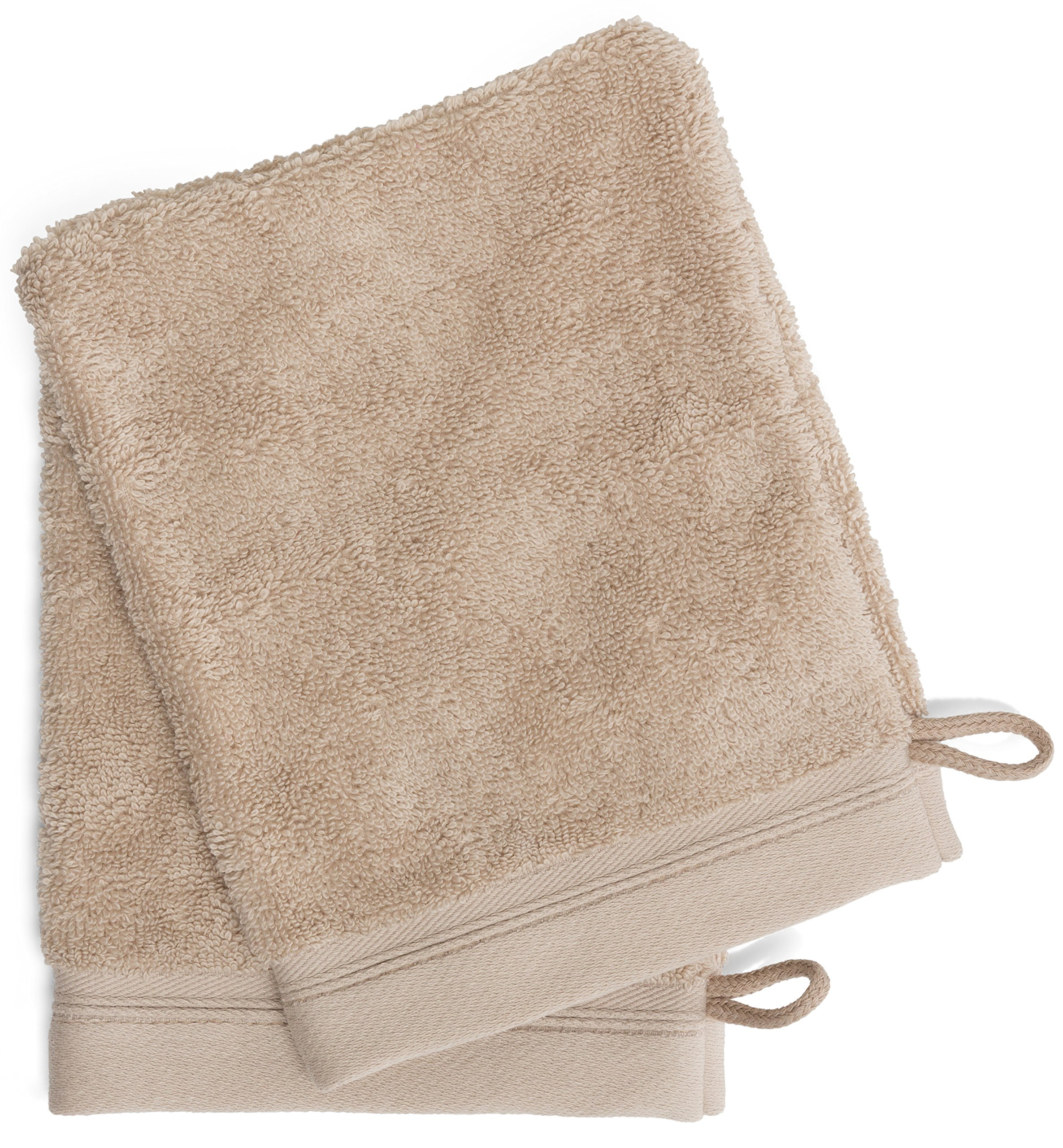 France Luxe Body French-Style Bath Mitt 2-Pack - Tan/Tan
