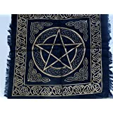 Altar Cloth/Wiccan/Pagan/Indian Tapestry/Scarve Gold Pentacle SCV205