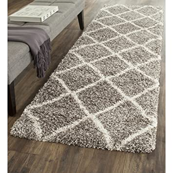 safavieh hudson shag collection sgh281b grey and ivory runner 2 feet 3 inches by 8 - Grey Shag Rug