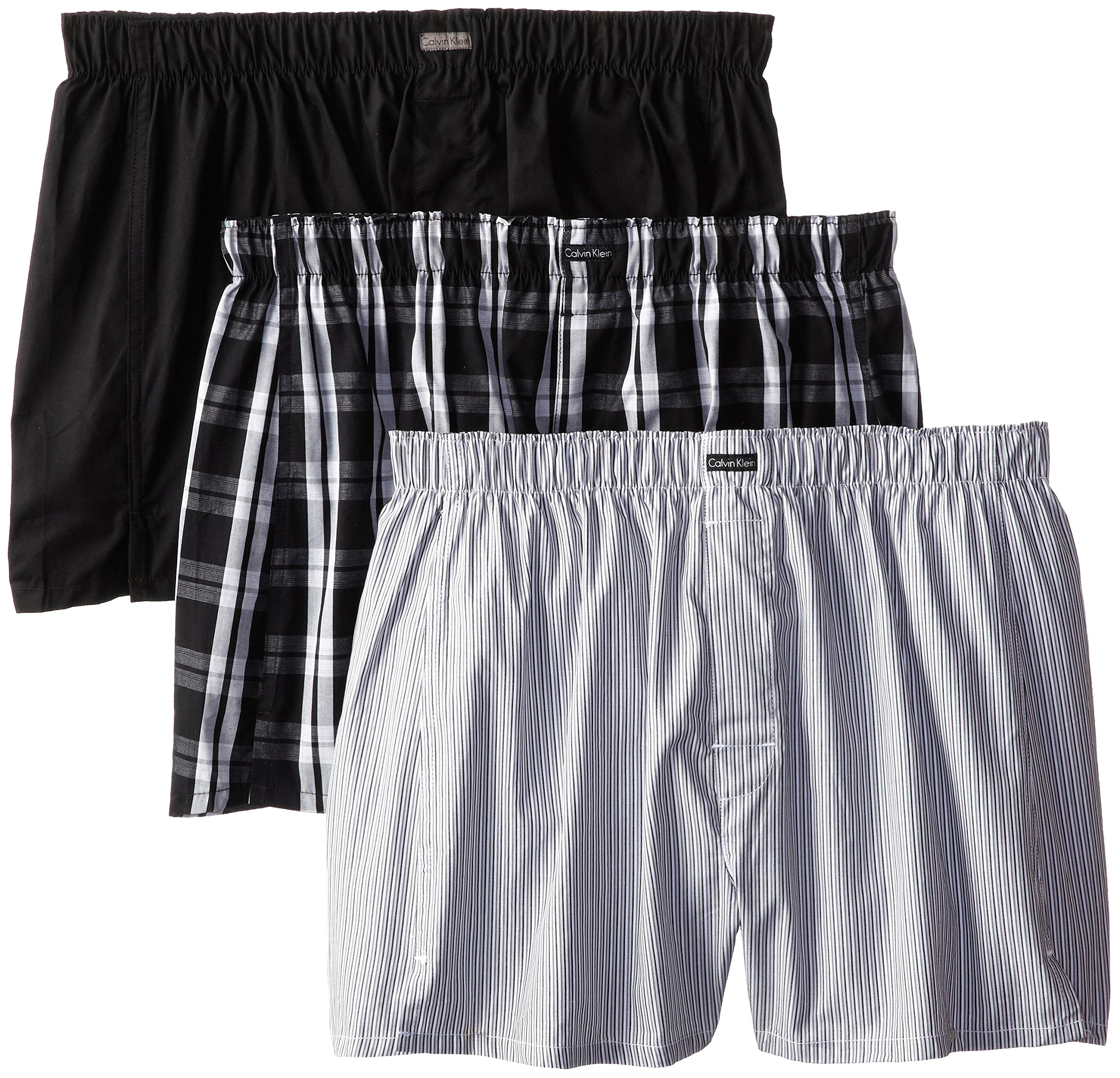 Calvin Klein Men's Cotton Classics 3 Pack Boxers, Montague Stripe/Black/Morgan Plaid, Medium