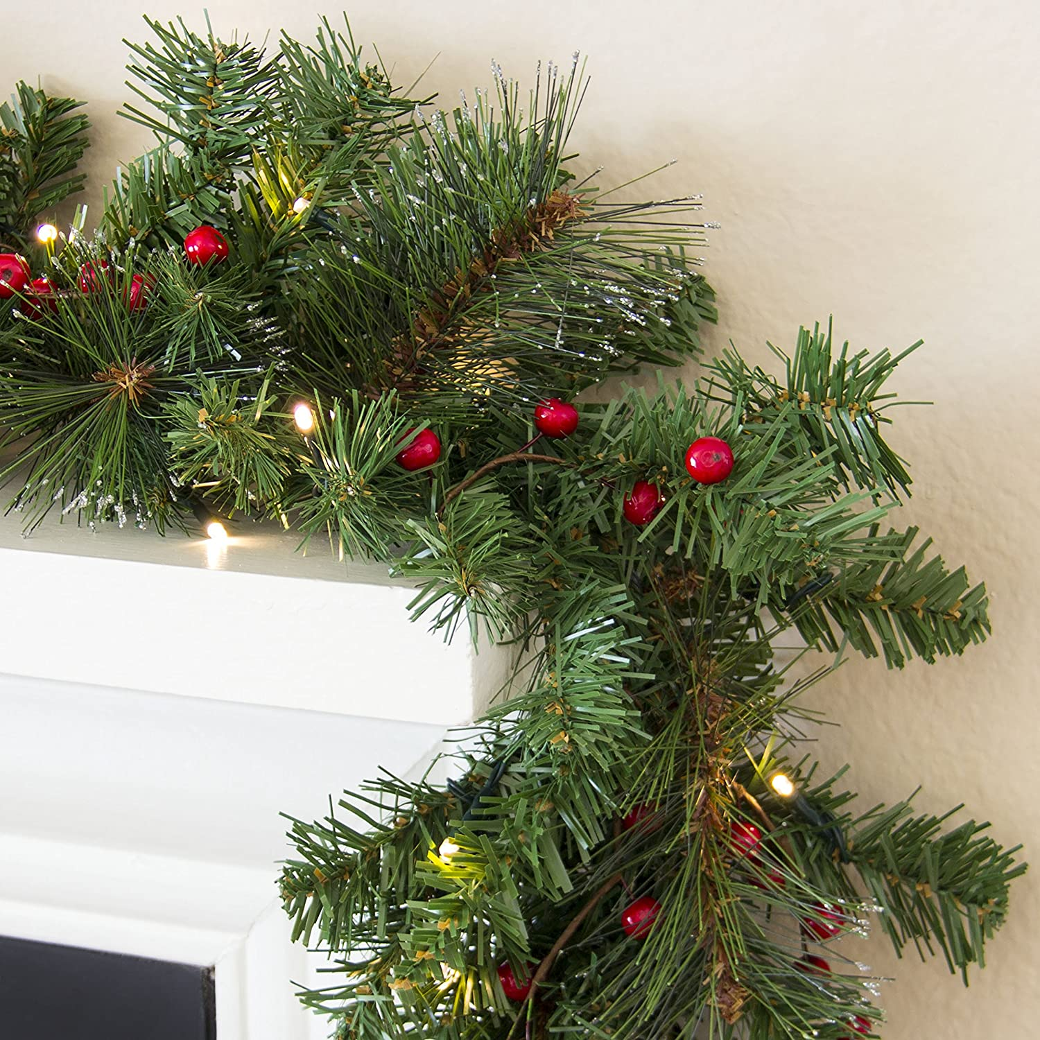 Amazon.com: Best Choice Products Prelit 9\' Spruce Christmas Garland ...