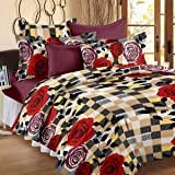 Story@Home 120 TC Cotton Double Bedsheet with 2 Pillow Covers - Floral, Brown