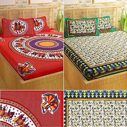 Story@Home 120 TC Pearl Premium Collection Cotton Bed Sheets Designer  Jaipuri Rajasthani Elegant Prints