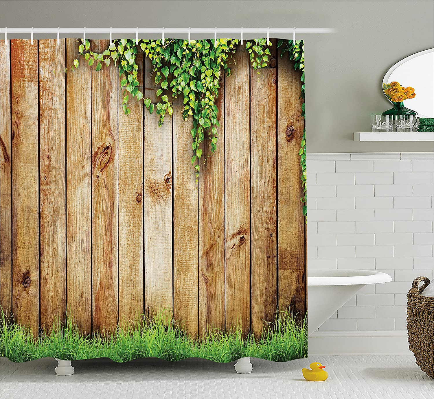 "Ambesonne Rustic Shower Curtain, Fresh Spring Season Grass and Leaf Plant Over Old Wood Fence Garden Field Photo, Cloth Fabric Bathroom Decor Set with Hooks, 70"" Long, Green Brown"