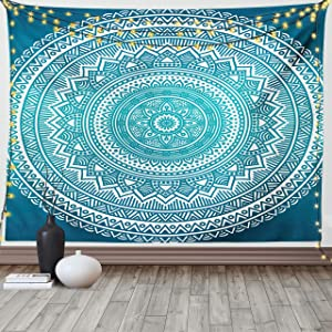 Ambesonne Turquoise Ombre Tapestry, Mandala Medallion Starry Design with Flower in Middle Art, Wide Wall Hanging for Bedroom Living Room Dorm, 60