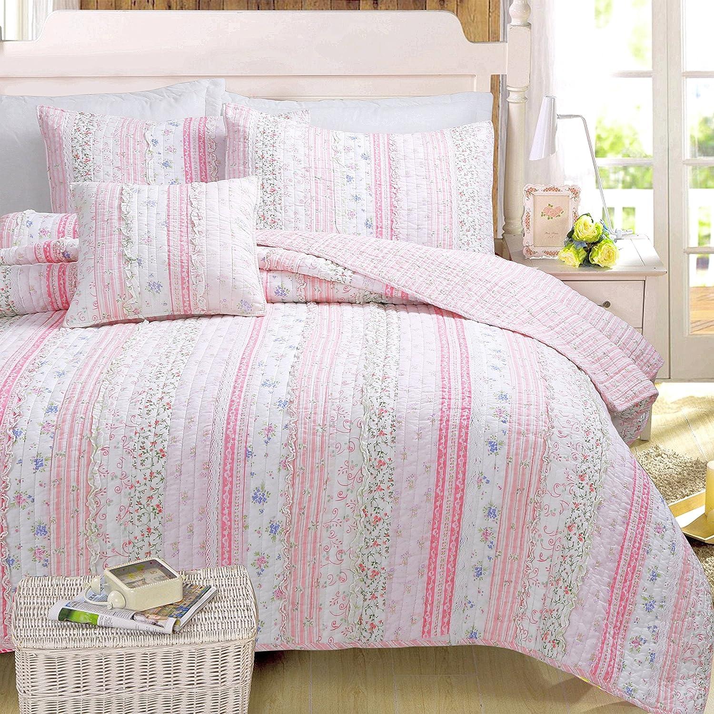 Amazon com cozy line home fashions pink rose romantic chic lace bedding quilt set floral flower printed 3d stripe 100 cotton reversible coverlet