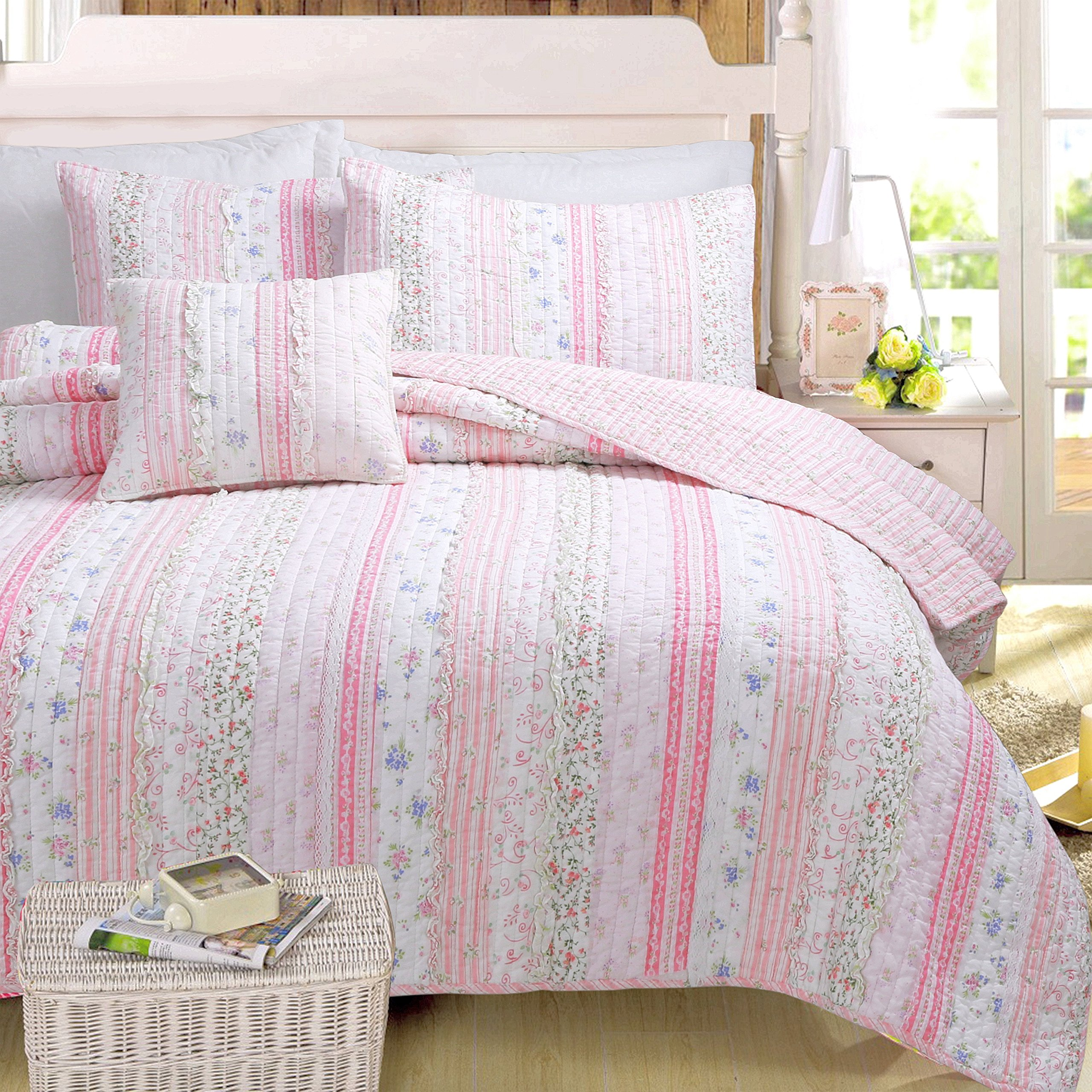 Cozy Line Home Fashions Pink Rose Romantic Chic Lace Bedding Quilt Set, Floral Flower Printed 3D Stripe 100% COTTON Reversible Coverlet Bedspread Gifts for Girls Women (Queen - 3 piece)