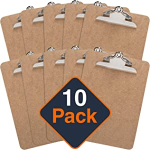 Clipboard (Pack of 10) Letter Size Clipboards 9'' x 12.5'' Standard Clip Hardboard | for Classroom & Office use