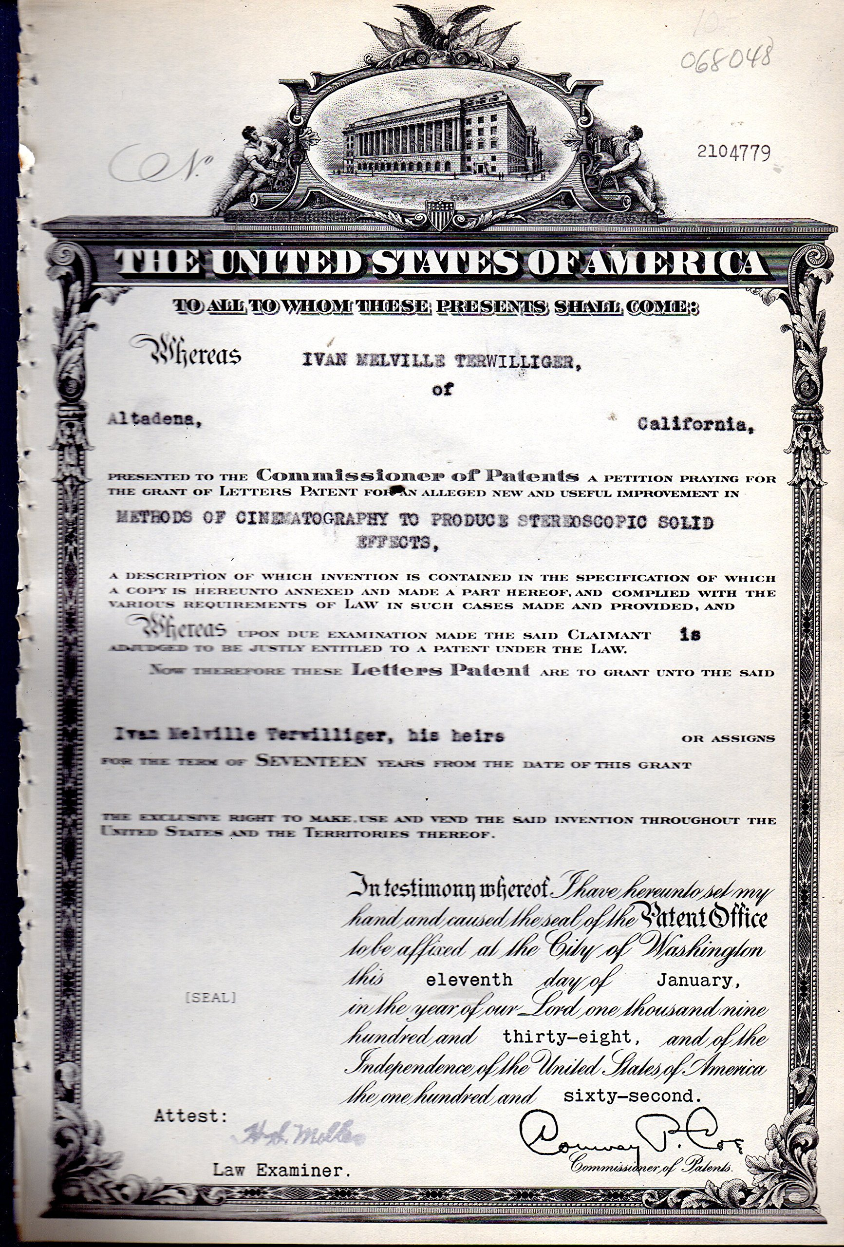 patent-2104779-granted-to-ivan-melville-terwilliger-for-an-alleged-new-and-useful-improvement-in-methods-of-cinematography-to-produce-stereoscopic-solid-effects-patent-certificate-dated-january-11-1938-disbound-copy