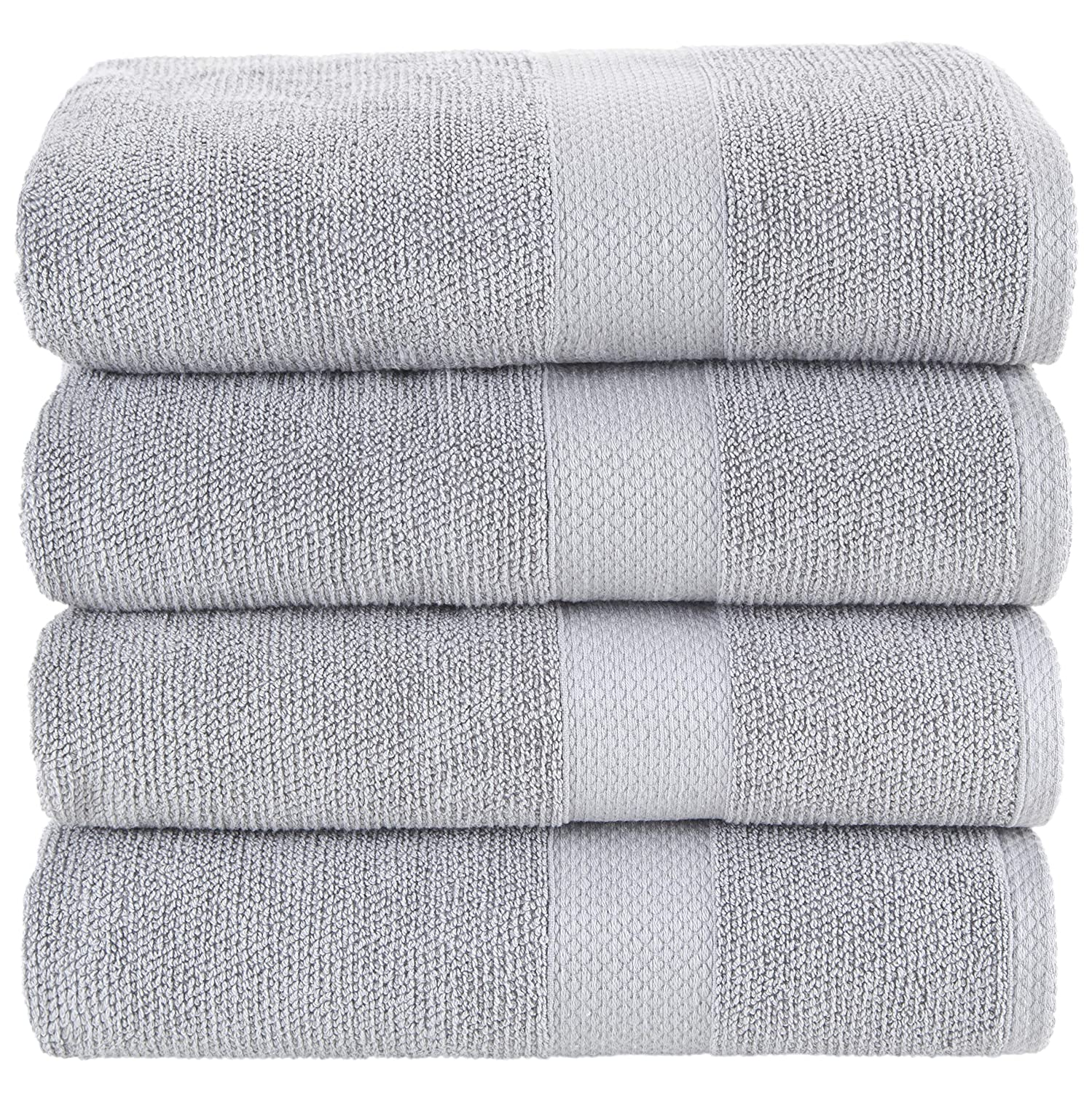 Bath Towels Grey 4-Piece Set - 100% Cotton Luxury Quick Dry Turkish Towels for Bathroom, Guests, Hot Tub - Hotel Quality Collection Bath Towels, ...