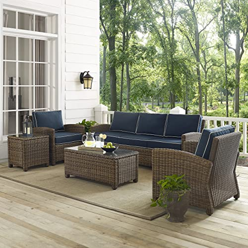 Crosley Furniture KO70051WB-NV Bradenton Outdoor Wicker 5-Piece Set Sofa