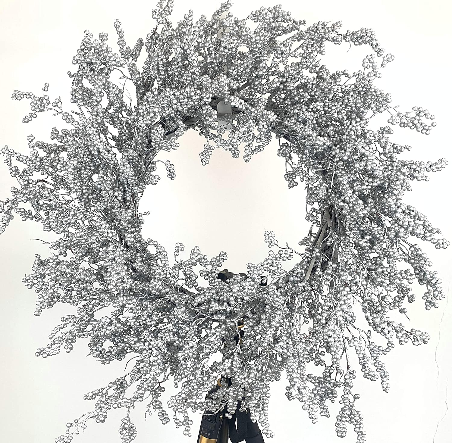 Huashen Christmas Winter Wreath with Silver Metallic Berry on Grapevine for Door Wall Window Home Decor 26inch