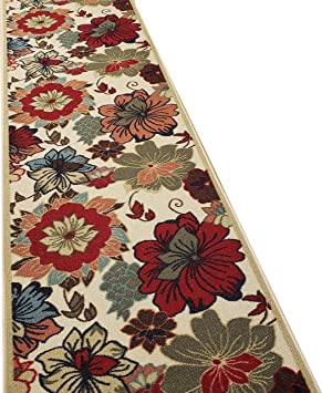 Amazon Com Custom Cut 31 Inch Wide By 15 Feet Long Runner Multicolor Floral Non Slip Non Skid Rubber Backed Stair Hallway Kitchen Carpet Runner Rug Choose Your Width By Length Furniture Decor