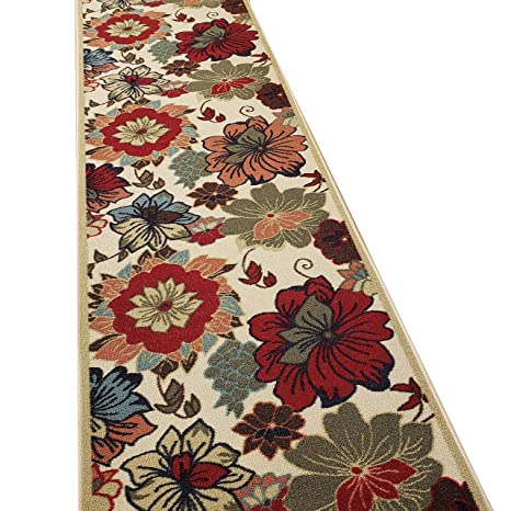 Custom Cut 22-inch Wide by 16-feet Long Runner, Multicolor Floral Non Slip,  Non-Skid, Rubber Backed Stair, Hallway, Kitchen, Carpet Runner Rug - ...