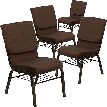 Gold Vein Frame Flash Furniture HERCULES Series 18.5W Stacking Church Chair in Brown Fabric