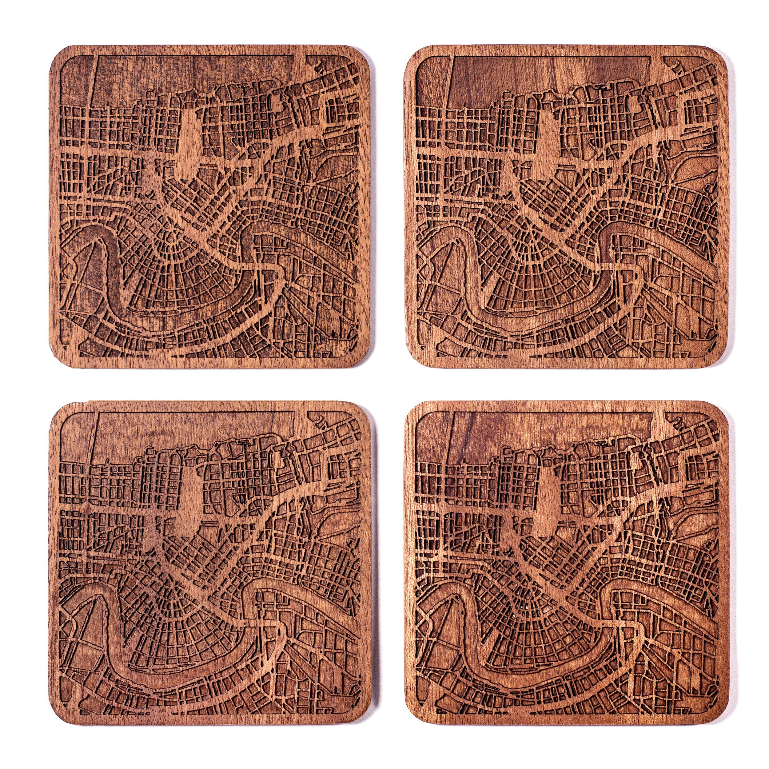 New Orleans Map Coaster by O3 Design Studio, Set Of