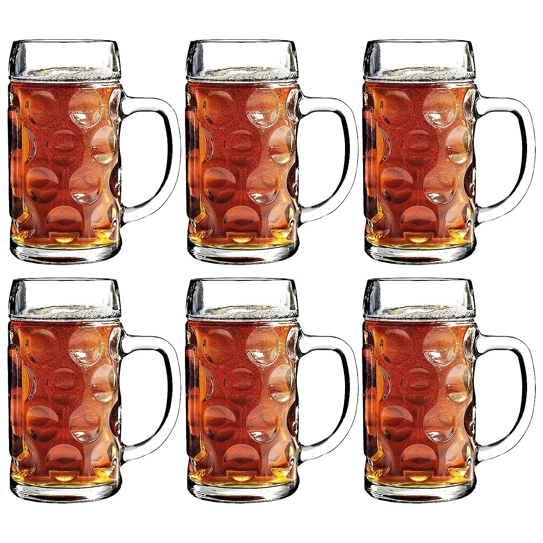 Cerveza alemana Steins 500 ml - 6 unidades   Jarras de cerveza tradicionales de jarra de cerveza, cristal Steins, con mango de cerveza, diseño de jarra de ...
