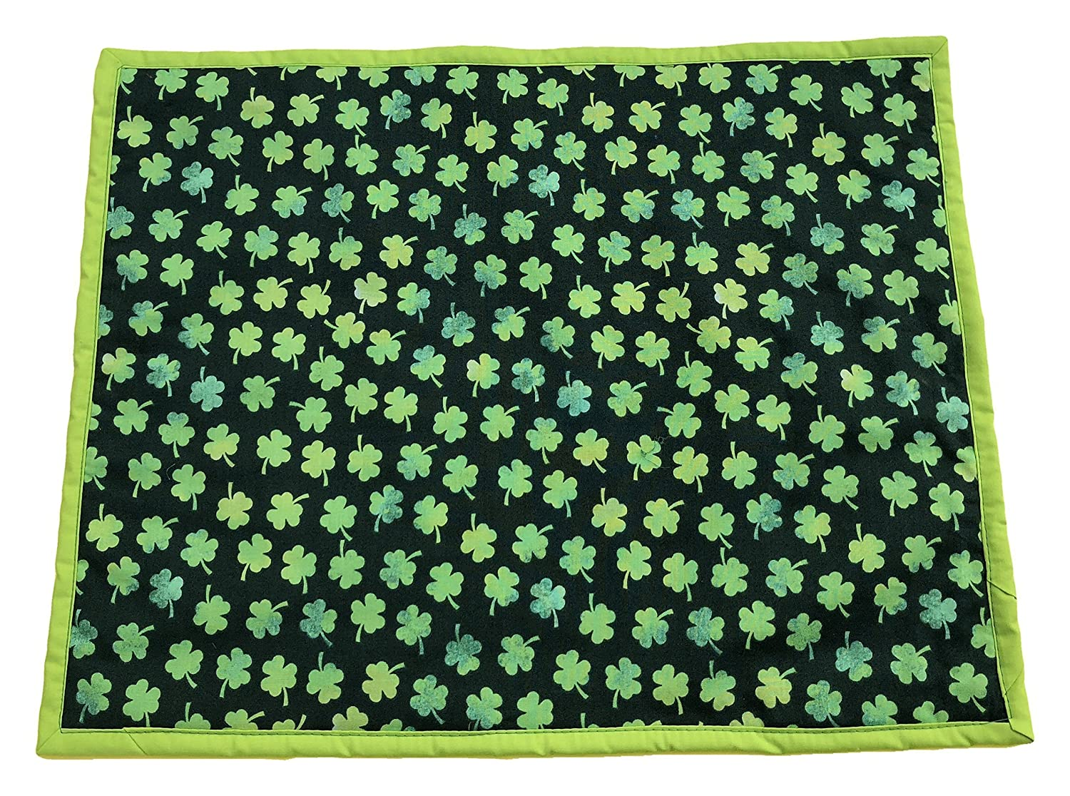 14 x18St Patricks Day Placemat Set of 2 Three Leaf Clover on Black Fabric