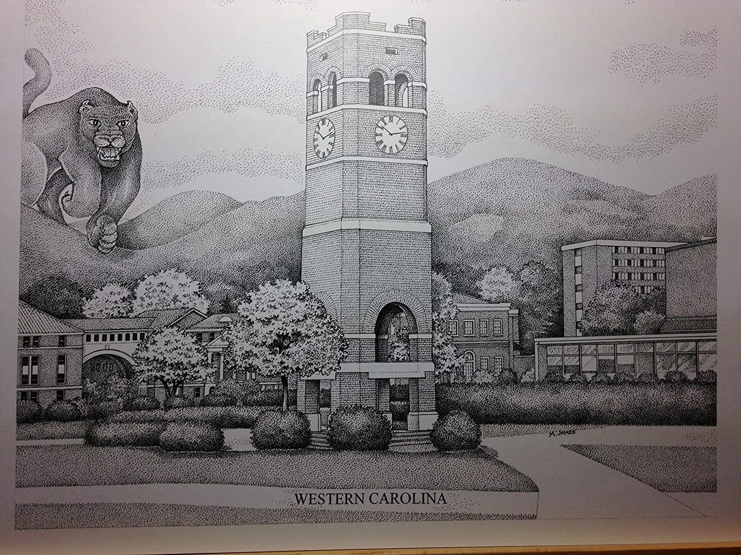 Western Carolina - Bell Tower 11'x14' pen and ink print