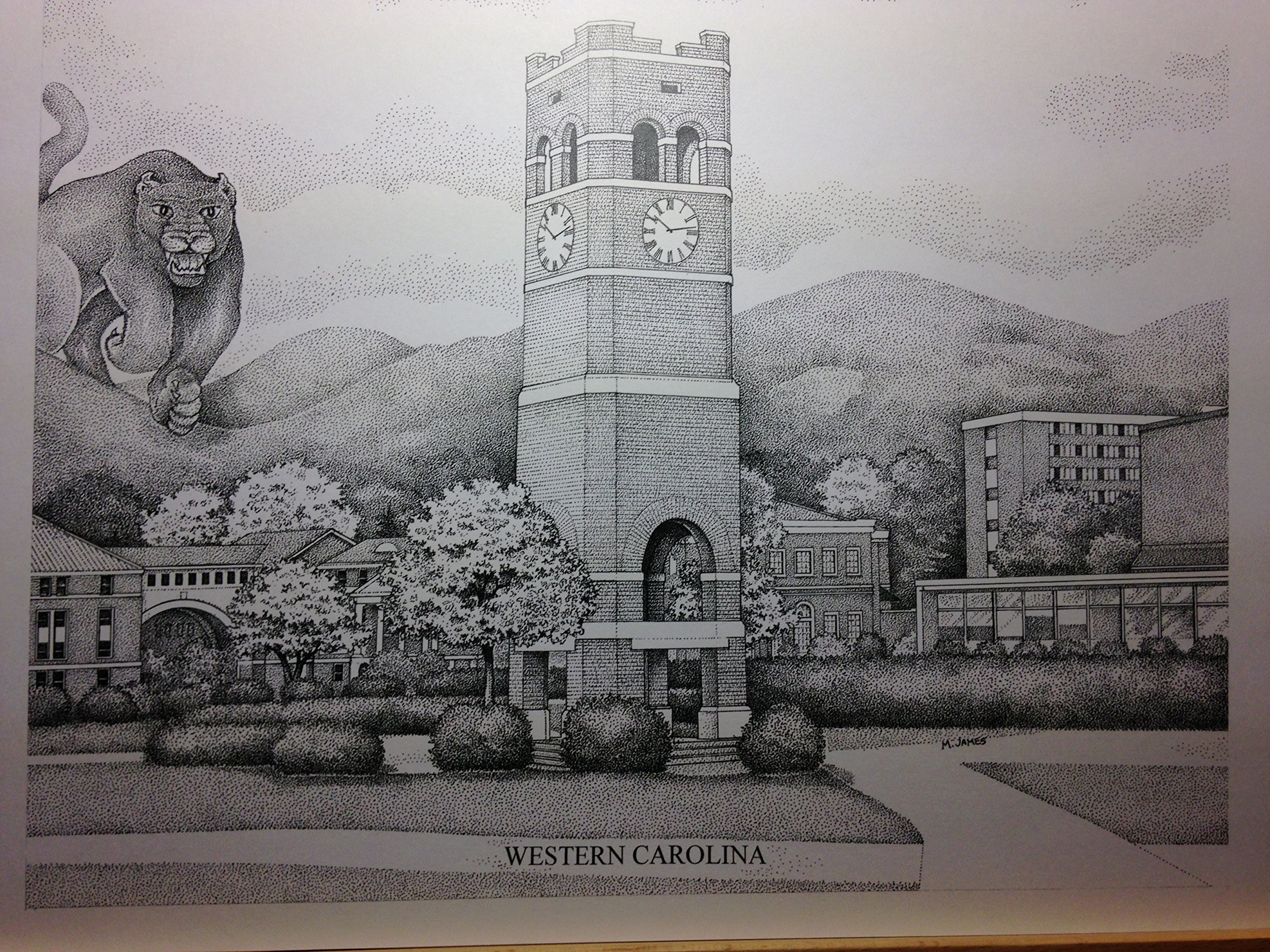 Western Carolina - Bell Tower 11''x14'' pen and ink print