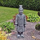 Steinfigur Chinesischer Terrakotta Krieger Soldat Zen Tempelkrieger Samurai Schwertkämpfer Wächter Skulptur Buddha 106 cm Feng-Shui Farbe: grau / Patiniert 03