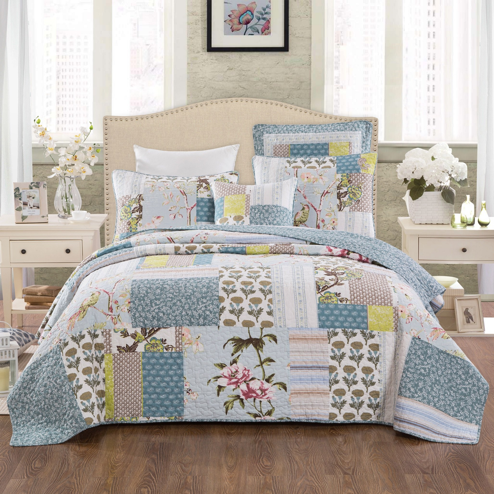 Tache Home Fashion Sky Breeze Patchwork Quilted Coverlet Bedspread Set - Bright Vibrant Multi Colorful Pastel Blue Grey Floral Print - King - 3-Pieces by Tache Home Fashion