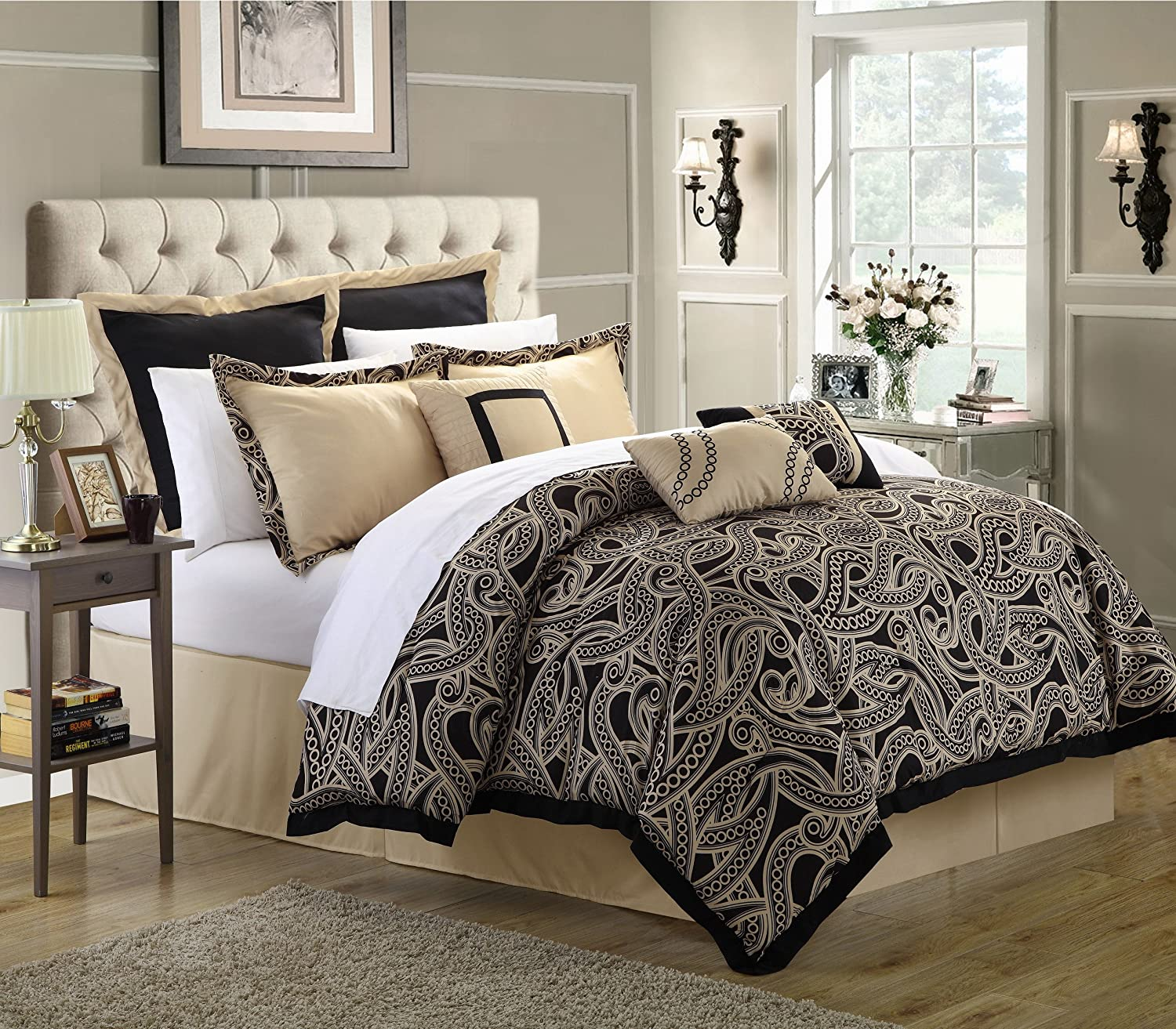 Amazon Chic Home 8 Piece Turin Reversible forter Quilt Set