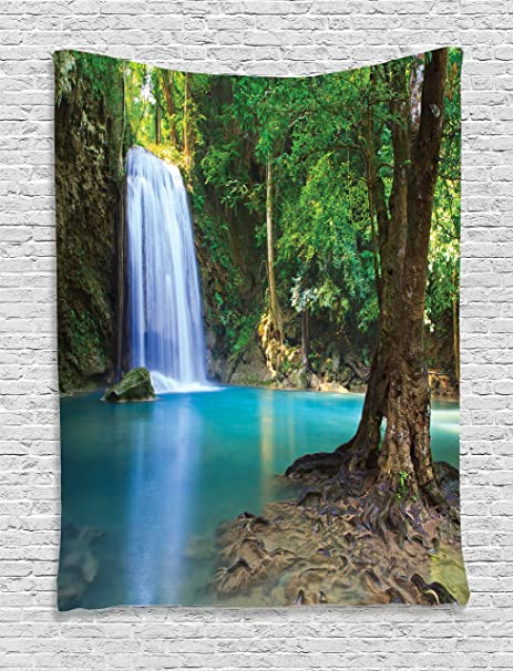 Ambesonne Jungle Tapestry Nature Woodland Decor, Waterfall Asia Thailand  Tropical Plants Tourist Attraction Image Pattern