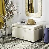 Safavieh Hudson Collection Nolita Leather Small Storage Bench, Off-White