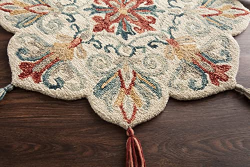 Loloi Remy Collection Round Accent Wool Area Rug, 3 x3 , Wine Multi