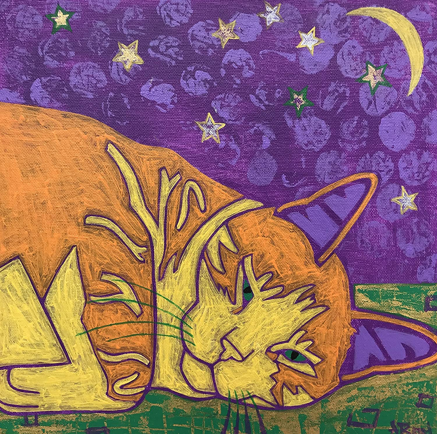 Napping Tabby Cat Tile Coaster, Cat Lover Home Decor by Angela Bond
