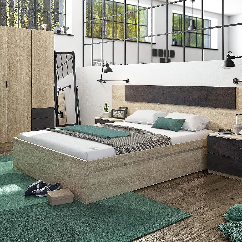 Habitdesign 006088F- Cama con 4 cajones para somier de 150x190, Dimensiones Exteriores 156x196x37 cm Altura (Roble Canadian): Amazon.es: Hogar